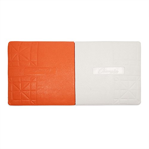 Champion Sports Orange & White Double First Base Pro Rubber Base with Ground Anchor System