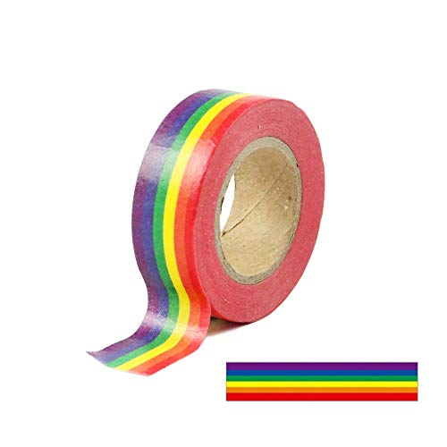 0.6 Inches x 11 Yards Rainbow Color Washi Tape Masking Tape DIY Decorative Tapes, 10 Rolls (Horizontal Pattern)
