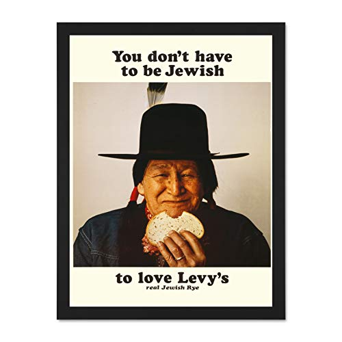 Wee Blue Coo Advertising Food Levy Rye Bread Native American Jewish Art Large Framed Art Print Poster Wall Decor 18x24 inch