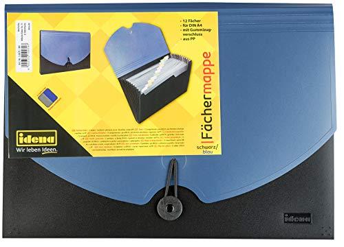 Idena 10079 - Fächermappe DIN A4, PP, 12 Fächer, blau/schwarz, 1 Stück