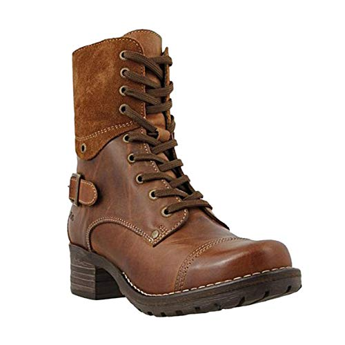 Fashion Ankle Boots for Women Lace Up Combat Boots Casual Buckle Round Toe Low Chunky Heeled Shoes Booties