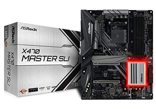 ASRock X470 Master SLI Mainboard, AMD AM4 Socket, RGB-LED Motherboard, ATX, saphierschwarz