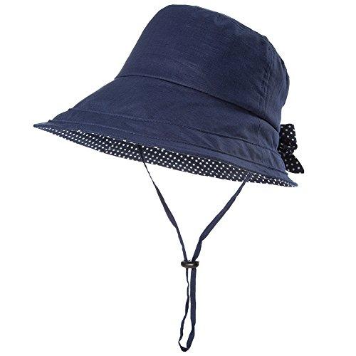 Comhats Leinen/Baumwolle Damen Sonnenhüte Sonnen Shade mit Kinnriemen Faltbare Fischerhüte SPF 50 + breite Krempe Schwarzblau