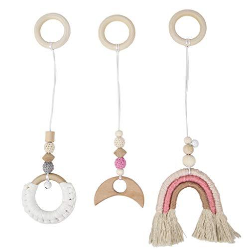 Njuyd Baby Chupetes 3 unids/set nórdico bebé gimnasio marco colgantes madera estante arco iris colgante juguetes decoración habitación regalos