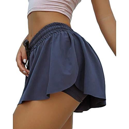 Pantalones Cortos de Yoga de Secado rápido para Mujer, Cintura Alta, cordón Deportivo, Cintura elástica, Doble Capa, cómodo, elástico, Color Puro 4XL