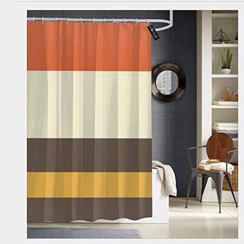 Badezimmer-Duschvorhang, Vintage-Design, gestreift, mit 12 Haken, 183 x 183 cm, Orange/Grau/Gelb/Creme