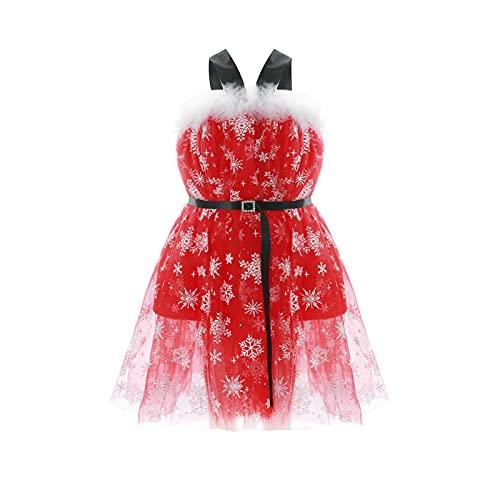 Vestido de Navidad para niña, sin mangas, con cuello de felpa, con estampado de copo de nieve, cintura alta, suelto, fiesta informal, rosso, 3-4 Años