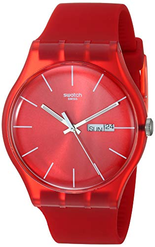 Swatch Men's SUOR701 Quartz Red Day And Date Plastic Watch