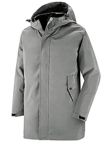 Wantdo Men's Waterproof Trench Coat Long Rain Jacket Packable Rainwear Grey S