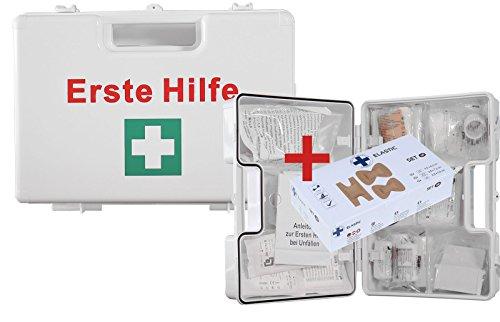 Betriebsverbandkoffer Erste Hilfe Koffer DIN 13157 Verbandkasten weiß + Halter + 50 Premium Pflaster Verbandskoffer 625115