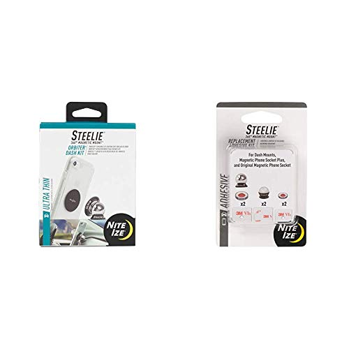 Nite Ize Steelie Orbiter Dash Mount Kit - Magnetic Cell Phone Holder for Car Dash, Low Profile, No Attached Magnets & Steelie Universal Adhesive Replacement Kit - for Dash Mount and Phone Sockets