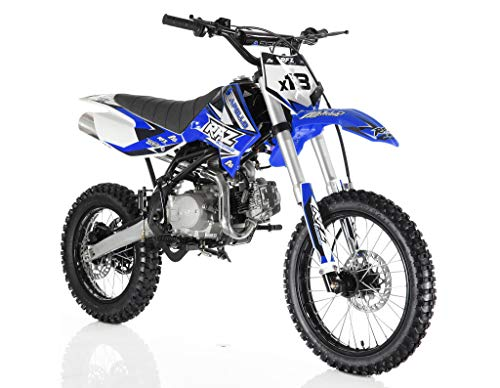 Apollo Original Dirt Bike X18   125CC RFZ Racing   Kick Start, 4 Speed Gears Manual Transmission Clutch   Double Spare Frame   Big Tiers 17/14 (Blue)