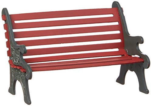Department 56 Village Cross Product Accessories Wrought Iron Park Bench Figurine, 2.25 Inch, Red