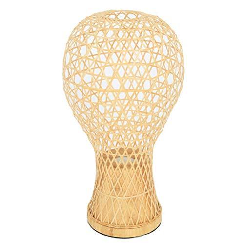 WRZ creatieve tafel van bamboe, decoratie van de lamp, handgemaakt met persoonlijkheid, lampenkap in landelijke stijl, lampenkap E27