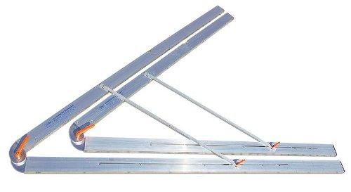 rabo verstellbarer Bauwinkel, zusammenklappbar, stufenlos von 0-120° einstellbar, Rastung bei 15/30/45/60/90/120°, zweifache Klemmung, justierbare Horizontallibelle, Schenkellänge 100cm