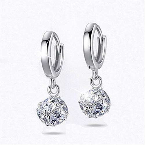 MAJFK Pendientes de tuerca para mujer de plata de ley coreana pendientes de joyería de cristal sintético Zircon Little Star Stud Pendientes de perlas