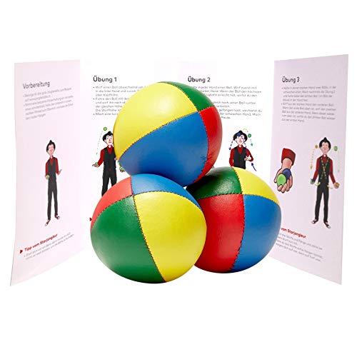 Jonglierbälle 3er Set vierfarbig mit Jonglieranleitung. Gute Jonglierbälle für Einsteiger. Liegen gut in den Händen Dank Füllung mit Hirse.