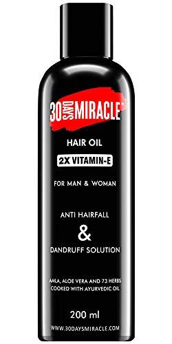 Aceite de cabello Vitamin-E de 30 días de milagro, 2 unidades, 200 ml Anti caída del cabello | anticaspa | Promueve el nuevo crecimiento del cabello y cura el gris prematuro. Para hombre y mujer.