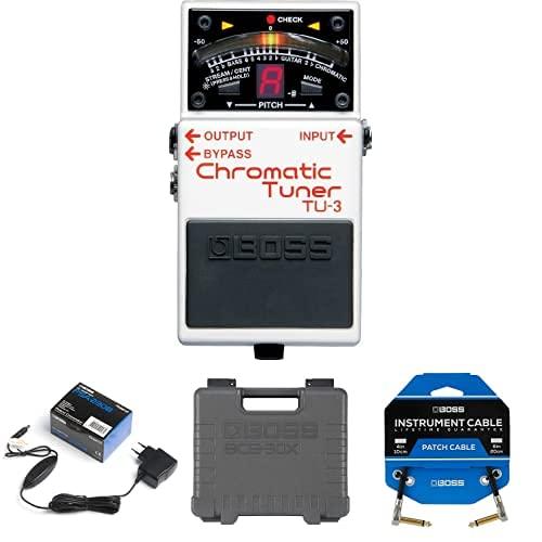 Paquete de pedal afinador de guitarra TU-3 con adaptador PSA, pedalera de efectos de guitarra ultraportátil BCB-30X y tres cables de conexión de pedal