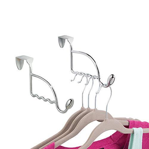 mDesign 2-delige set deurgarderobe van metaal - robuuste garderobe voor de deur - praktische garderobehaken voor hoeden, jassen, badjassen etc. - geschikt voor alle conventionele binnendeuren - zilverkleurig
