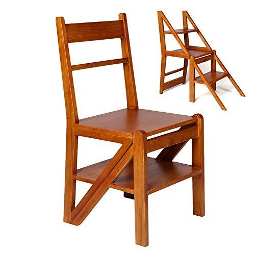 Houtstapladders, kruk, Ergonomisch ontwerp, Handgepolijste rubberboom massief hout, bestand tegen 550 lb