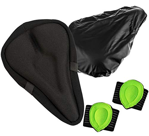 FitPanther Gel Bike Seat Cover 3 Piece Set, Breathable Saddle Cover, Comes With A Foot Arch Support and Waterproof Seat Cover, Optimal Padded Gel Bike Seat Cushion for Adults and Children