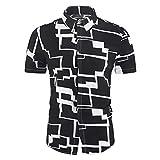 ZAIZAI Camisas de los hombres sueltos hawaianos de la camisa de manga corta étnica hombres de la impresión casual de la blusa de cuello de giro (Color : Black, Size : XL code)