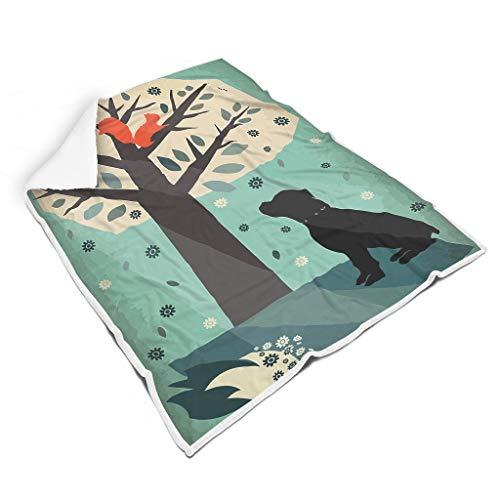 Vrnceit Hond onder boom Thermisch bont bankdeken voor bed Voel je goed voor babywarme stijl
