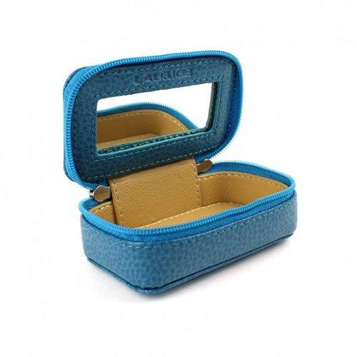 Laurige Duron - lederen tas box voor handtas of reizen - turquoise, 9 cm x 5 cm x 3,5 cm