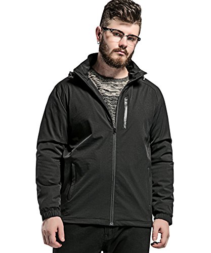 ATOUR Men's Hooded Windproof Jacket Plus Size For Big&Tall Black 7XL