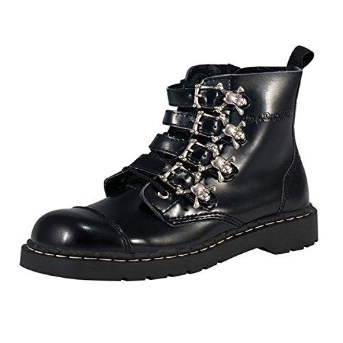 TUK Anarchic Boots T2043, Damen Stiefel, Schwarz (Noir (Skull & Crossbones Buckles)), 38 EU