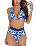 Tuopuda Costumi da Mare Donna Costume da Bagno Due Pezzi Push Up Imbottito Triangolo Brasiliana Bikini Halter Regolabile Reggiseno Spiaggia Vita Alta Fondo Bikini, A-Blu, XL