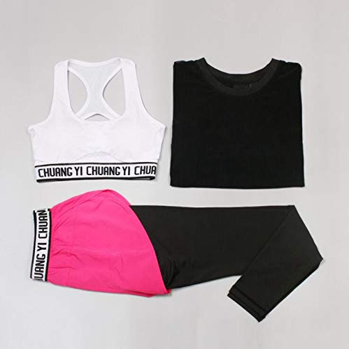 Vrouwen yoga driedelige pak, outdoor sport pak, hoge elastische ademend, hardlopen strak zweten en sneldrogende kleding, workout kleding, S, M, L, XL