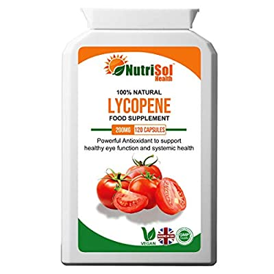 NutriSol Health Lycopene 15 mg 120 Capsules   Antioxidant   Eye Function   Support Health Heart & Prostate Function   May Help Maintain Healthy Skin Exposed to Sun Damage
