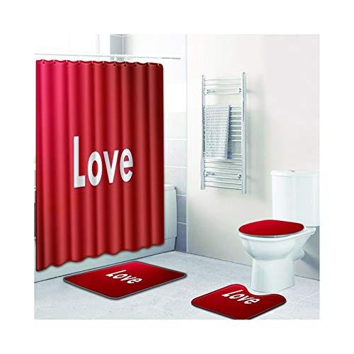 MaxAst Duschvorhang Badematte 4Teilig Set Love Rot Duschvorhang 180X180 Antischimmel Badematte Und Wc Vorleger Set 45x75