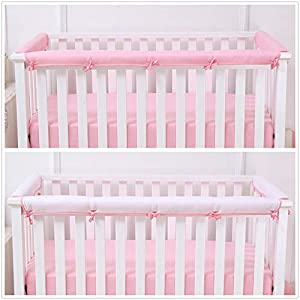 Belsden Baby Safe 3 Pack Crib Rail Cover Set for 1 Long and 2 Side Rails, Reversible Breathable Padded Crib Teething Guard Protector for Girls, Measure up to 8 inches Around, Pink and White Color