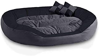 Hiputee Ultra Soft Reversible Fleece/Velvet Bed for Dog and Cat with 2 Extra Pillows (Small, Grey Black)
