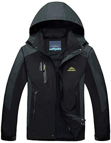 TACVASEN Herren Leichte Wasserdichte Softshell Jacke mit Abnehmbarer Kapuze, DE XL, Schwarz