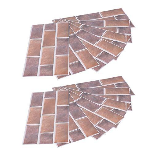 Uxsiya Etiqueta engomada del azulejo 2 Juegos de la Etiqueta de la Pared del Cuarto de baño del Dormitorio para la Sala de Estudio de la Sala de Estar(Café castaño FG02)