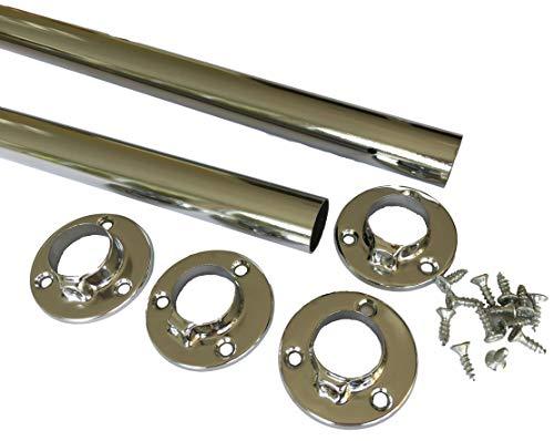 2x Kleiderstange 556mm inkl. Halter/Flansch + Schrauben – Stahl verchromt 25mm Kleiderbügel Rohr Rund für Kasten & Kleiderschrank