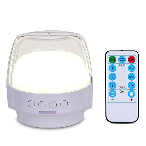 Zoeson - Lámpara de noche con luz LED para mesita de noche, regulable, con mando a distancia, temporizador, batería recargable de 2800 mAh para dormitorio, puerta, camping, interior, exterior