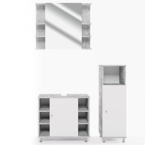 Vicco Badmöbel Set Badezimmermöbel Fynn Spiegel + Unterschrank + Midischrank + Hochschrank (Set 2, Beton)
