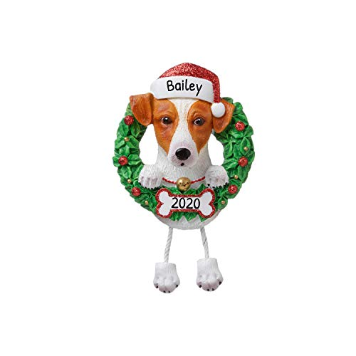 Personalized Jack Russell Terrier Christmas Tree Ornament 2020 - Fluffy Dog Dangle Paw Santa Hat Pure Love Play Parson Clever Small Social Smart Fur-Ever New Loyal Family R.i.p. - Free Customization