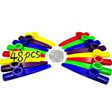 Fartime 48Pcs Plastic Kazoos With 40Pcs Kazoo Flute Diaphragms,Musical Instruments,Good Gift for Kids,A Good Companion for Ukulele, Violin, Guitar,Piano Keyboard.