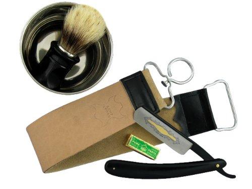 Rasiermesser-Set mit Paste aus Solingen, Rasierschale, Rasierpinsel, Streichriemen