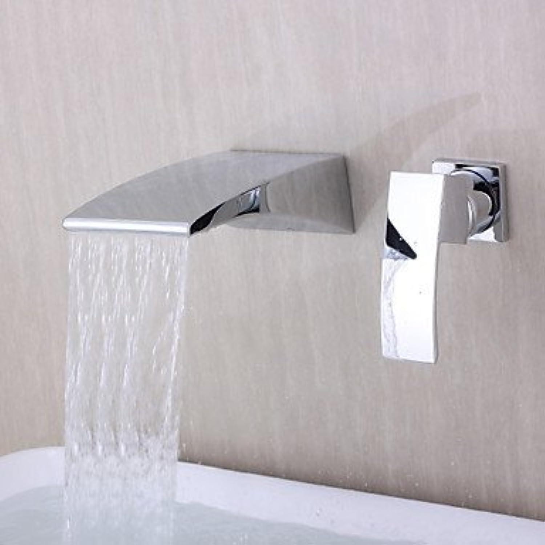 Bathtub Faucet - Contemporary Chrome Wall Mounted Ceramic Valve Single Handle Two Holes
