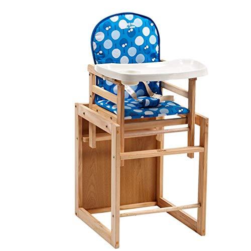 WWWWWWW-DENG barkruk voor baby's, eettafel, stoelen van hout, multifunctionele eetkamerstoel (kleur: blauw, maat: groot)