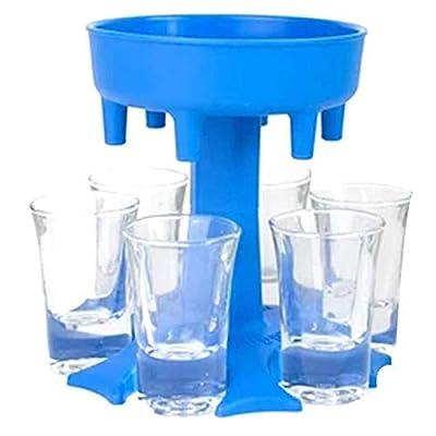 6 Shot Glass Dispenser and Holder-Multiple 6 Shot Dispenser-Dispenser For Filling Liquids-Shots Dispenser-Bar Shot Dispenser-Dispenser With Slogan-Cocktail Dispenser (Blue)