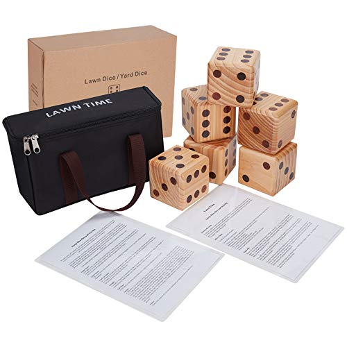 New 3.5-Inch Giant Lawn Dice 6-Pack Set with Drawstring Bag - Solid New Zealand Wooden Yard Dice for Yard Games and Lawn Games - Jumbo Dice with Scorecards - Summer Outdoor Games for Family