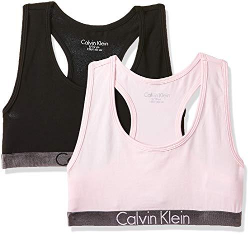 Calvin Klein Mädchen 2 Pack Bralette Bustier, Mehrfarbig (1 Black / 1 Unique 037), Keine Angabe (Herstellergröße: 4-5) (2er Pack)